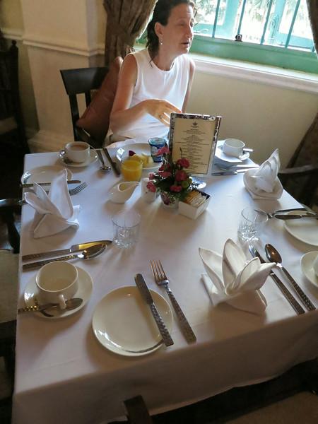 Ordering breakfast in hotel dining room