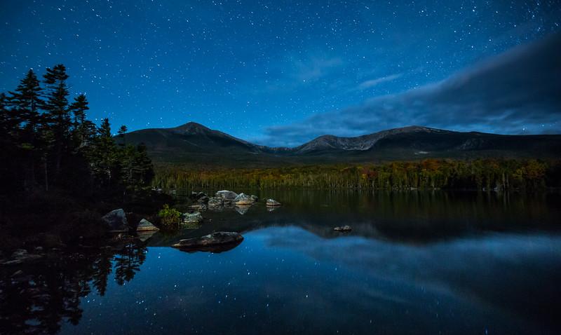 Stars over Mount Katahdin, Sandy Stream Pond, Baxter State Park,  Maine, USA