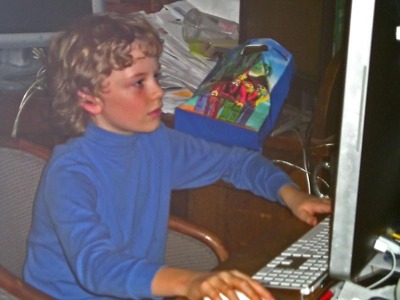 Alex at the computer.