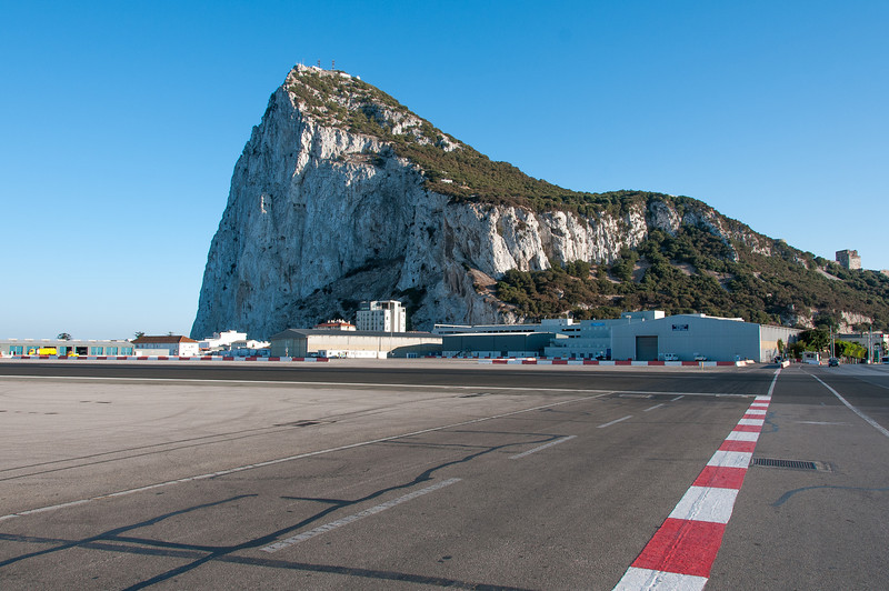 The mountain cliff visible from the airport runway in Gibraltar