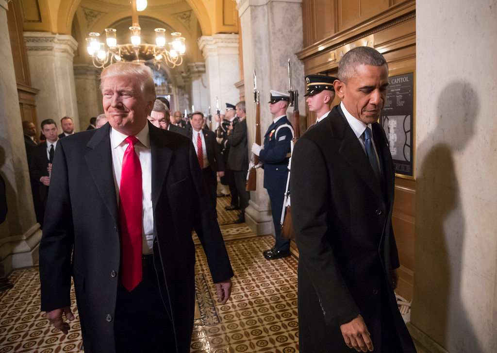 . President-elect Donald Trump, left, and President Barack Obama arrive for Trump\'s inauguration ceremony at the Capitol in Washington, Friday, Jan. 20, 2017. Trump, a real estate mogul and reality television star who upended American politics and energized voters angry with Washington, will be sworn in as the 45th president of the United States, putting Republicans in control of the White House for the first time in eight years. (AP Photo/J. Scott Applewhite, Pool)