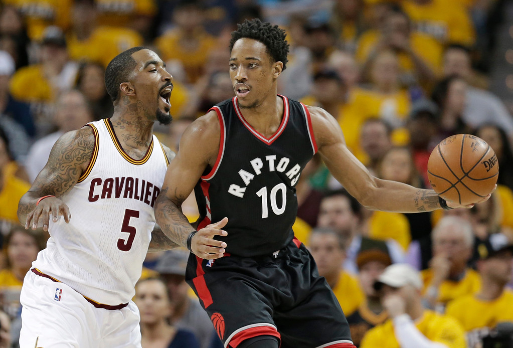 . Toronto Raptors\' DeMar DeRozan (10) drives past Cleveland Cavaliers\' J.R. Smith (5) in the first half in Game 1 of a second-round NBA basketball playoff series, Monday, May 1, 2017, in Cleveland. The Cavaliers won 116-105. (AP Photo/Tony Dejak)