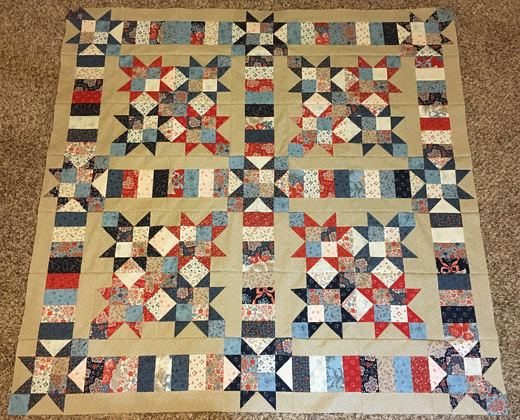 Unfinished top: Grant Park Stars and Bars quilt, Summer 2016