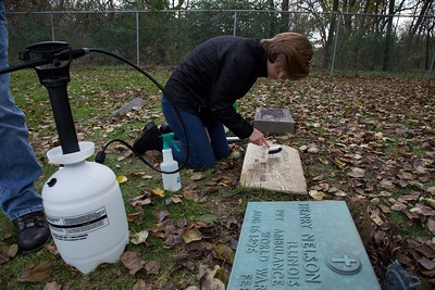 Cleaning Headstones at Naperville Cemetery
