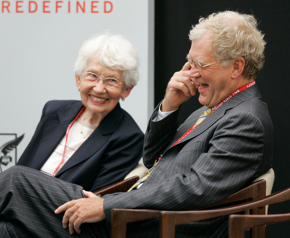 """. FILE - In this Sept. 7, 2007, file photo, David Letterman, right, the host of \""""The Late Show with David Letterman\"""" on CBS, and his mother Dorothy Mengering share a laugh during the dedication of the $21 million David Letterman Communication and Media Building on the campus in Muncie, Ind. Mengering died Tuesday, April 11, 2017, his publicist Tom Keaney confirmed. She was 95. (AP Photo/Michael Conroy, File)"""