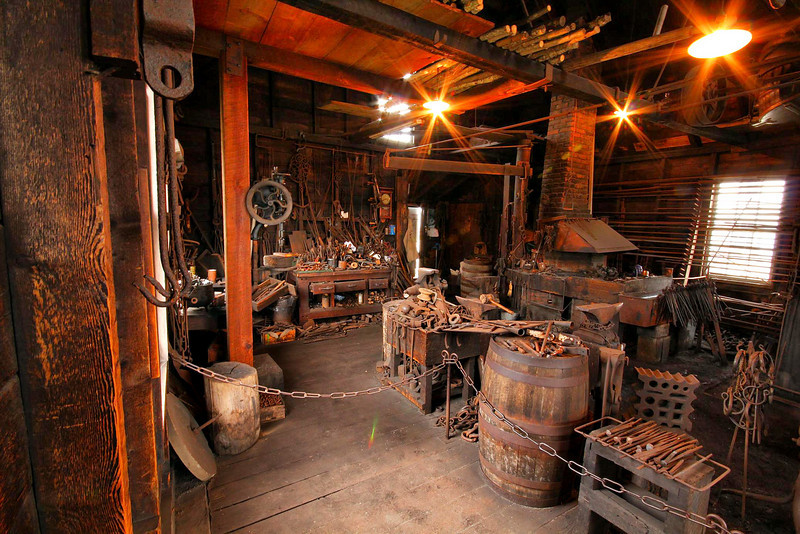 A corner of the blacksmith's shop at Mystic Seaport, Conn.
