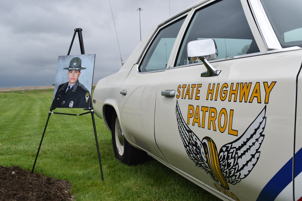 . Ohio State Highway Patrol Trooper Robert Perez Jr. was honored during the 18th anniversary of his death on May 15, 2000. He was remembered with a Memorial Sign Dedication Ceremony at the OSHP Milan Post May 15, 2018. Perez died three days after his patrol car was struck from behind by another vehicle during a traffic stop late at night. (Briana Contreras � The Morning Journal)