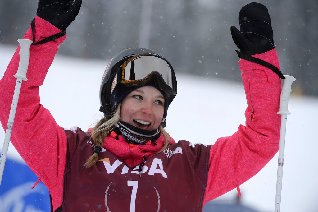 . Dara Howell, CAN, reacts to her second run scores which put in her in first place the U.S. Grand Prix slope style finals at the Copper Mountain ski area Saturday afternoon, December 21, 2013.  Howell went on to win. (Photo By Andy Cross / The Denver Post)