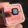 1.19ct Vintage Emerald Cut Diamond Onyx Ring, GIA E VS2 50