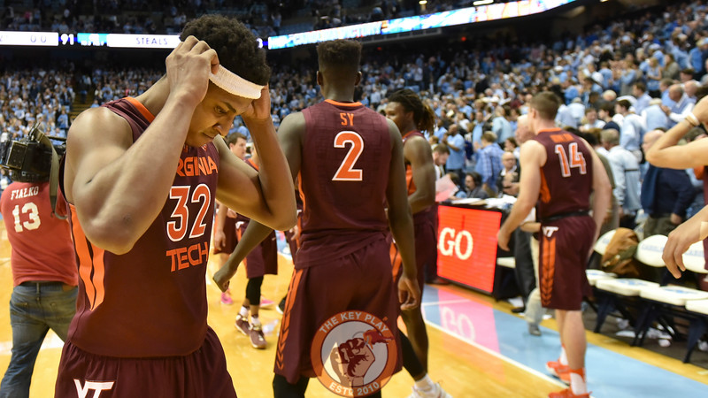 Virginia Tech Hokies forward Zach LeDay (32) reacts immediately following the defeat. (Michael Shroyer/ TheKeyPlay.com)