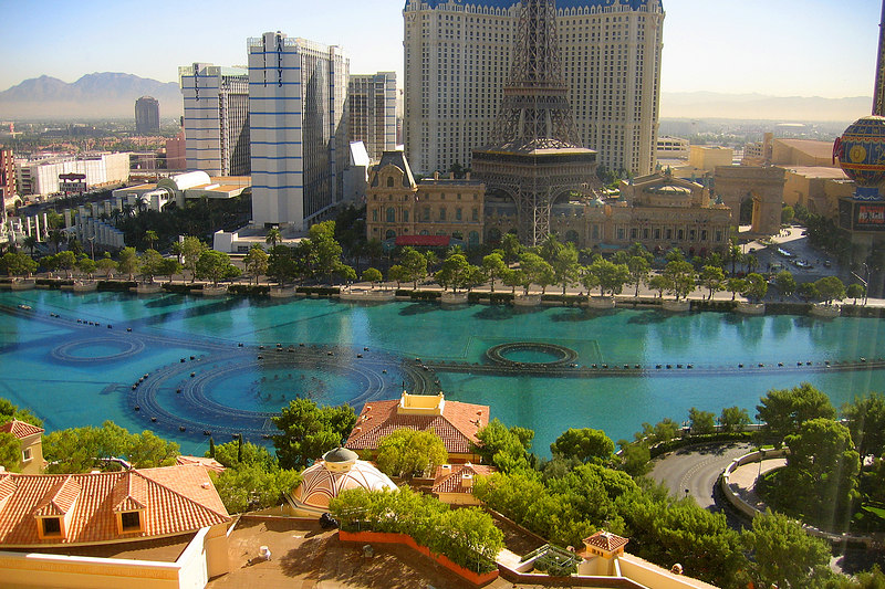"""Daytime view from our room of the """"lake"""" with the fountain machinery"""