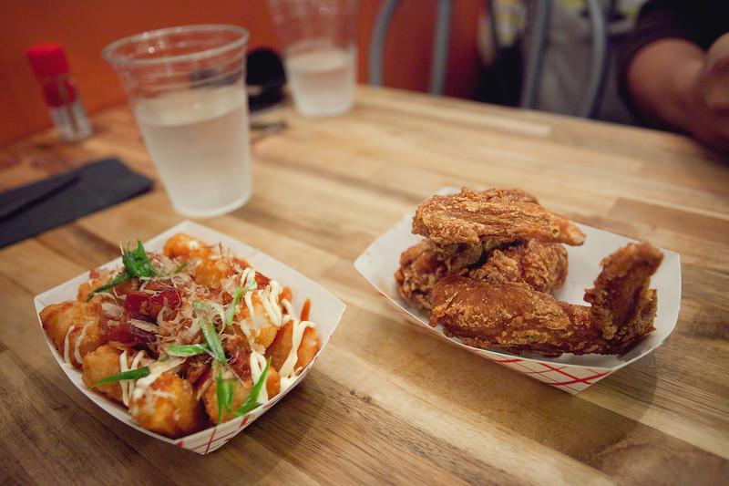 Soy Garlic Chicken Wings and Tater Tot Okonomiyaki