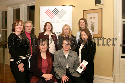 Enterprising Women's Network, Standing l-r, J Milne, M Brown, S Freeburn, V Herity, M Andrews (network co-ordinator), P Jennings, seated l-r, E Mc Gennity (guest speaker) and E Mullen (guest speaker). 05W13N51.