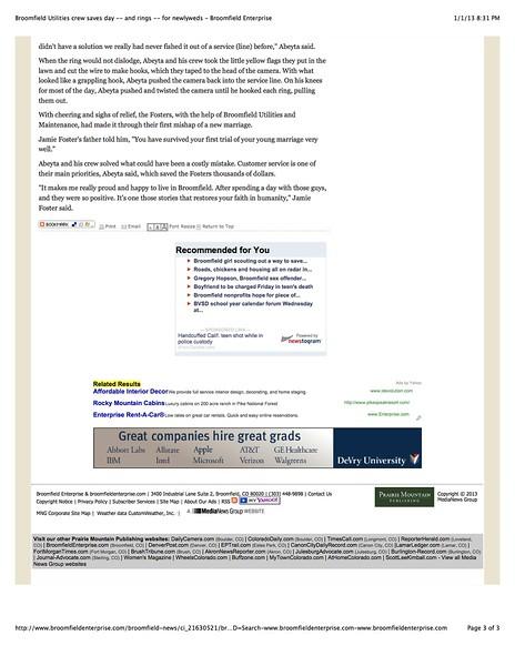 Broomfield Utilities crew saves day -- and rings -- for newlyweds - Broomfield Enterprise pg3.jpg