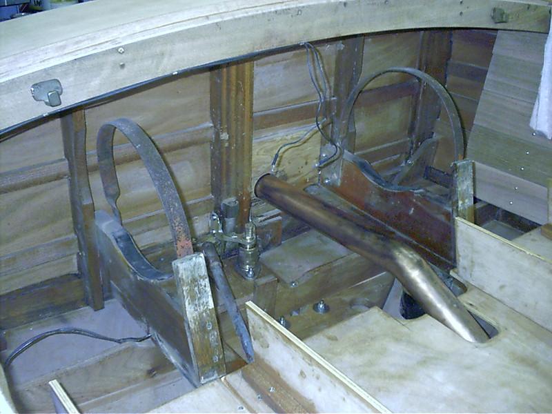 New rudder port,rudder and transom bracket installed.