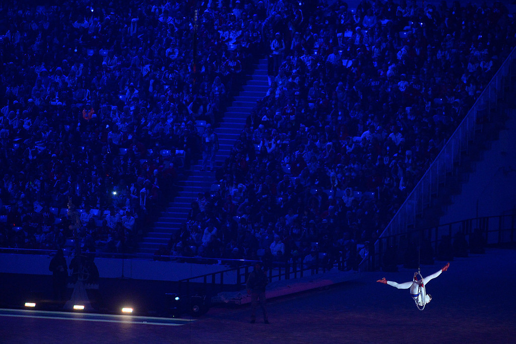 . Performers pay homage to Russia\'s circus culture during closing ceremony for the Sochi 2014 Winter Olympics. Sochi 2014 Winter Olympics on Sunday, February 23, 2014 at Fisht Olympic Stadium. (Photo by AAron Ontiveroz/ The Denver Post)