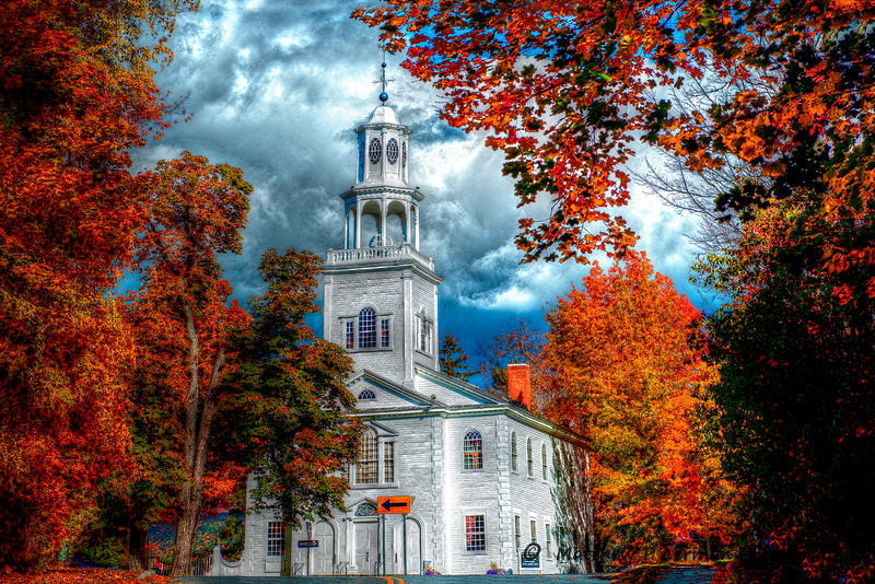 First Congregational Church in Historic Bennington, VT  Autumn  #802