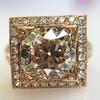 4.03ct Light Fancy Brown Antique Cushion Cut Diamond Halo Ring GIA LFB, SI1 17