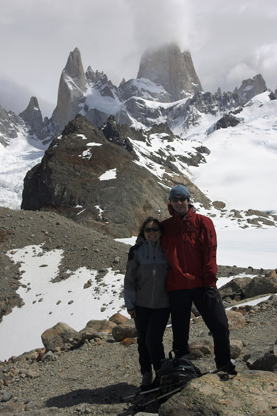 At the cairn just bvefore Laguna de los Tres