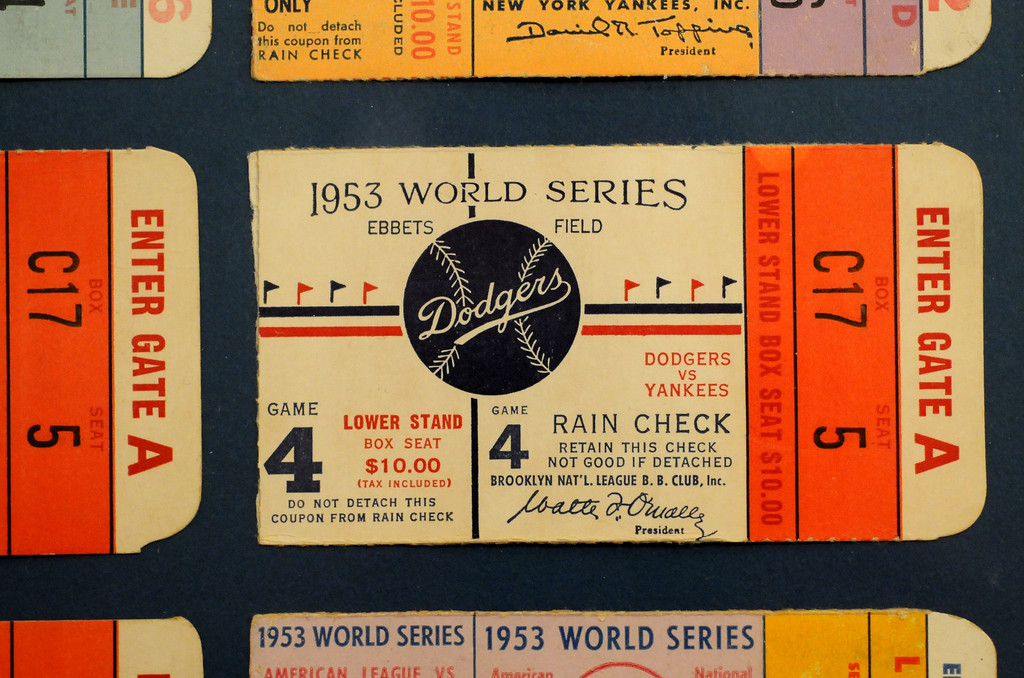 ". A World Series ticket from the 1953 Dodgers vs Yankees series is included in the ""Baseball!\"" exhibit.  The Exhibition opens April 4, 2014 at the Ronald Reagan Presidential Library and Museum.  Running through September 4, 2014, Baseball is a 12,000 square foot exhibition featuring over 700 artifacts, including some of the rarest, historic and iconic baseball memorabilia.  (Photo by Dean Musgrove/Staff Photographer)"