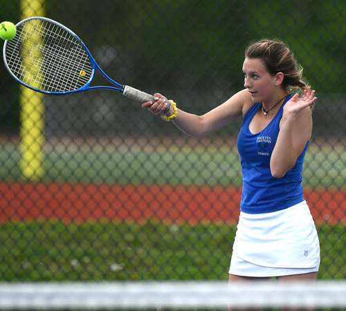 5/17/2018 Mike Orazzi | Staff Bristol Eastern's Sara Stadnicki during Thursday's tennis match.
