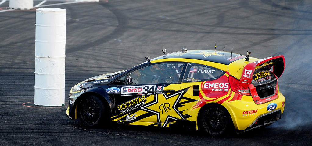 . Tanner Foust races during the X Games Gymkhana Grid finals at Irwindale Speedway on Saturday, Aug. 3, 2013 in Irwindale, Calif.   (Keith Birmingham/Pasadena Star-News)