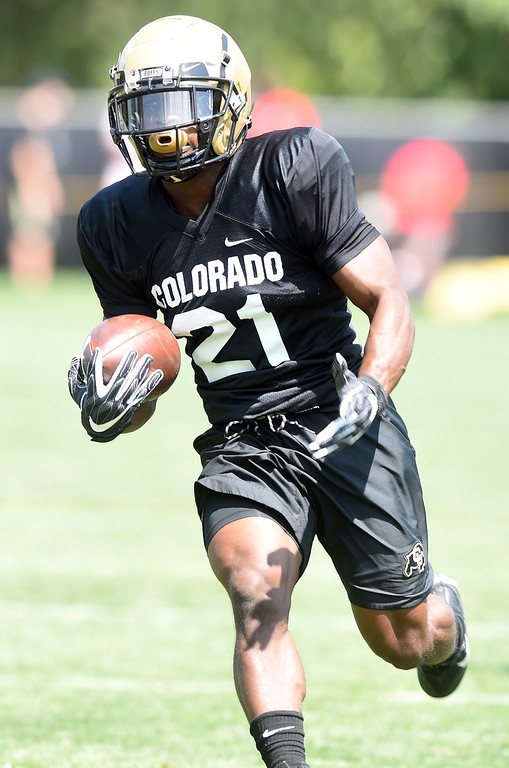 . Kyle Evans at practice during CU football and Fall sports media day. For more photos, go to dailycamera.com. Cliff Grassmick  Staff Photographer  August 4, 2018