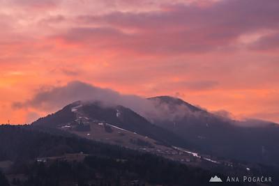 St. Thomas and Stari vrh at sunset - Jan 12, 2018