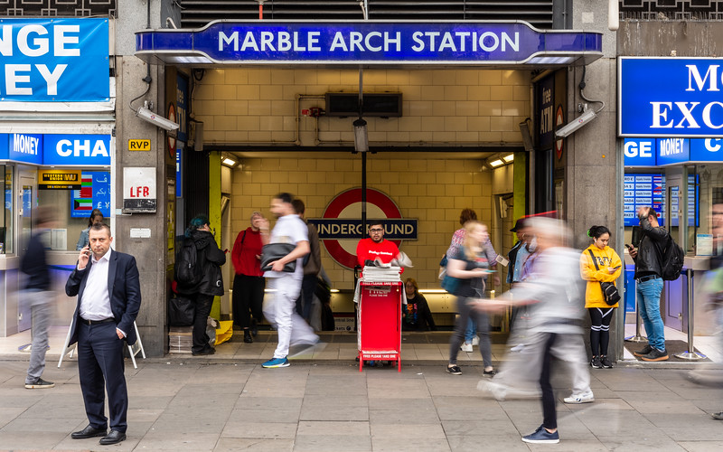 Commuters at Marble Arch tube station