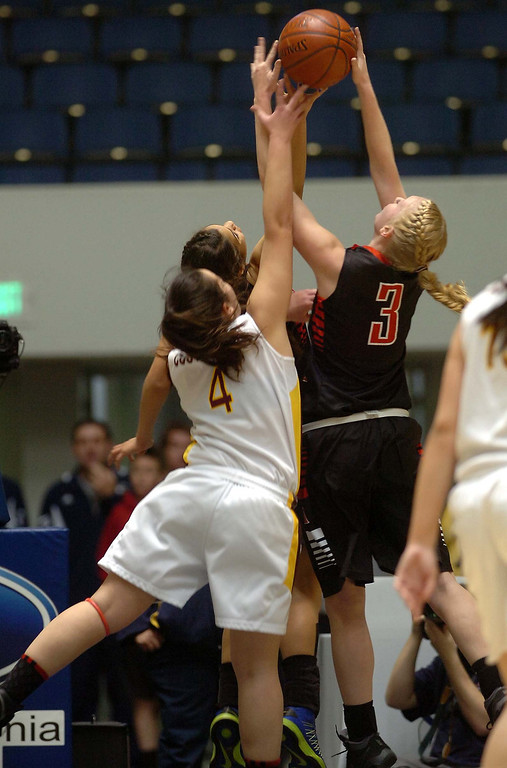 . Mesa Grande Academy girl\'s basketball team the Cardinals beat AGBU Titans Wednesday February 27, 2013 during the CIF Ford Southern Section Girl\'s Division 5A Championship at the Anaheim Convention Center in Anaheim.LaFonzo Carter/ Staff Photographer