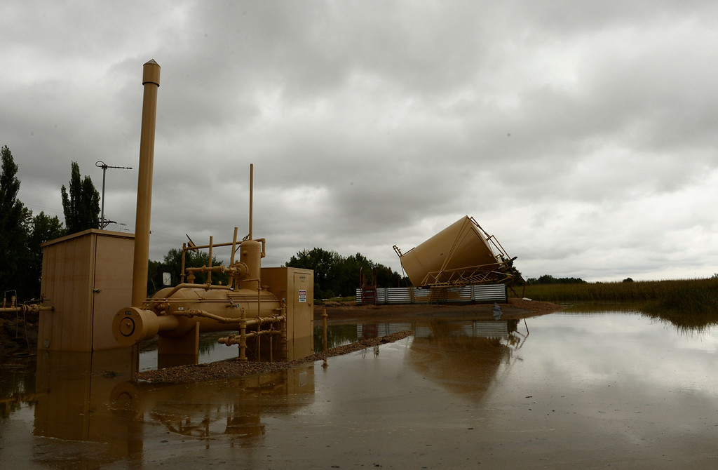 . LA SALLE, CO - SEPTEMBER 16: A gas well is flooded near La Salle, September 16, 2013. Massive flooding continues to hit Colorado. (Photo By RJ Sangosti/The Denver Post)