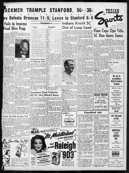 Daily Trojan, Vol. 38, No. 122, April 28, 1947