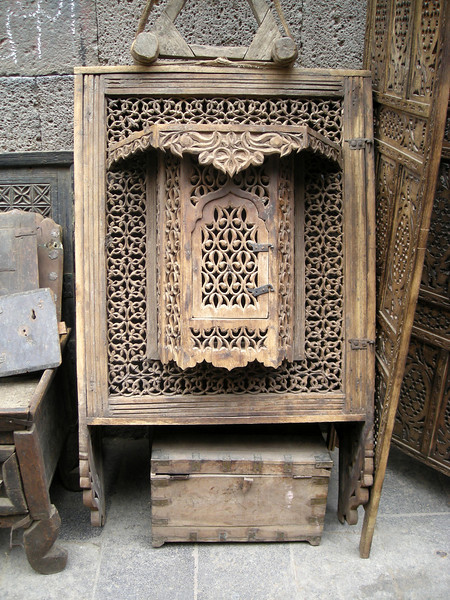 and old carved window for sale at an antique shop in old Sana'a