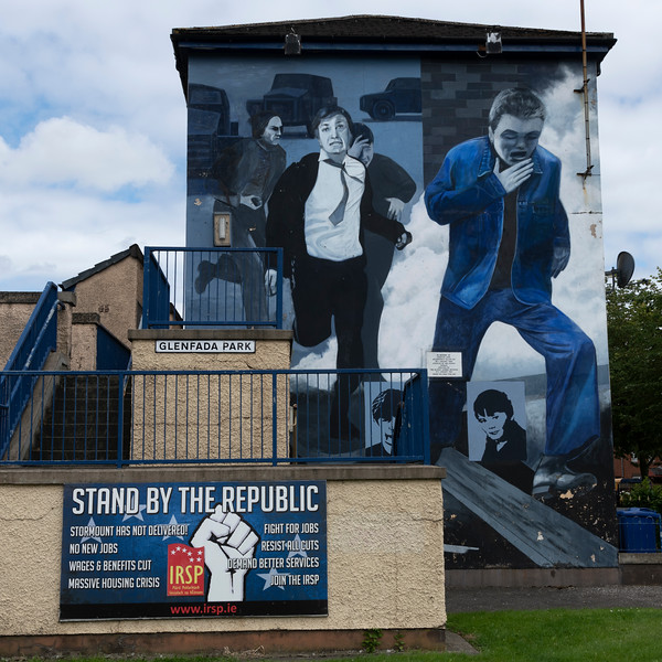 Painting depicting a scene where a young boy runs from the tear gas cloud during the Troubles, Free Derry, Londonderry, Northern Ireland, United Kingdom