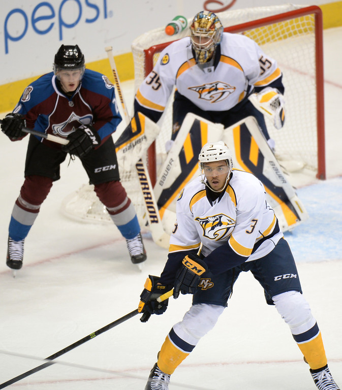 . DENVER, CO - OCTOBER 04 : Seth Jones of the Nashville Predators (3) looks to the puck during the 3rd period of the game against the Colorado Avalanche at the Pepsi Center. Denver, Colorado. October 4, 2013. Colorado won 3-1. (Photo by Hyoung Chang/The Denver Post)