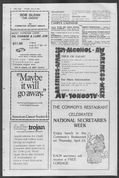 Daily Trojan, Vol. 88, No. 51, April 24, 1980