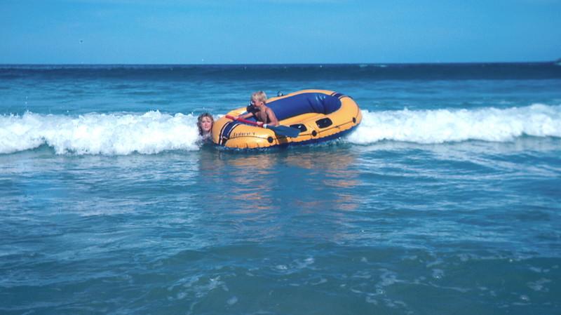 1977-1 (19) Susan 11 yrs 6 mths & Andrew 7 yrs 5 mths with raft @ Apollo Bay.jpg