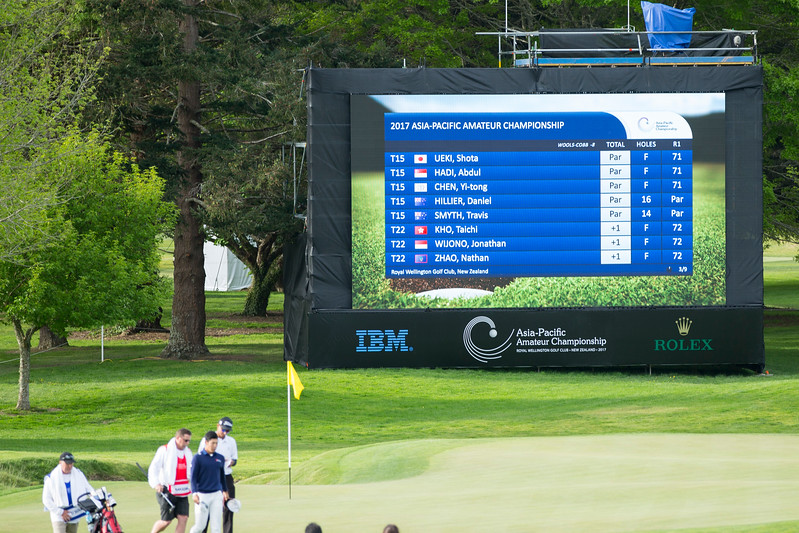 Leaderboard (page 3) at 6.00pm on the 1st day of competition in the Asia-Pacific Amateur Championship tournament 2017 held at Royal Wellington Golf Club, in Heretaunga, Upper Hutt, New Zealand from 26 - 29 October 2017. Copyright John Mathews 2017.   www.megasportmedia.co.nz