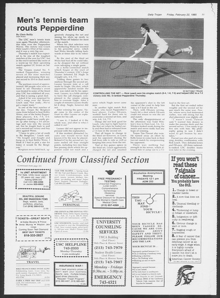 Daily Trojan, Vol. 98, No. 29, February 22, 1985