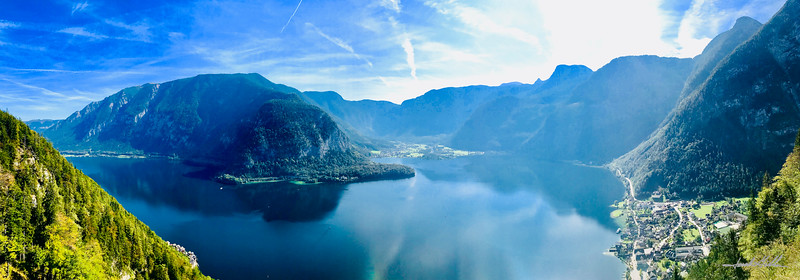 Panorama of Hallstatter Seeand the villages of Halstatt & Oberstraun