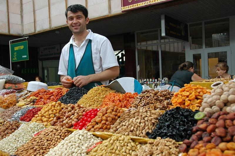 Dried Fruits Vendor at Zelyony Bazaar- Almaty, Kazakhstan