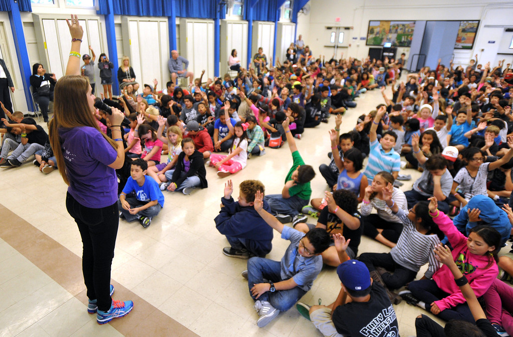 . Country Western singer Lizzie Sider, 15, sings during her 80-school California Bully Prevention Tour for students at Ocean View Elementary School in Whittier on Monday November 4, 2013. (Whittier Daily News/Staff Photo by Keith Durflinger)