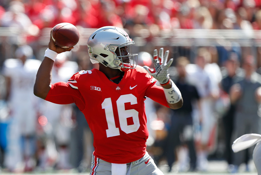 . Ohio State quarterback J.T. Barrett throws a pass against UNLV during the first half of an NCAA college football game Saturday, Sept. 23, 2017, in Columbus, Ohio. (AP Photo/Jay LaPrete)