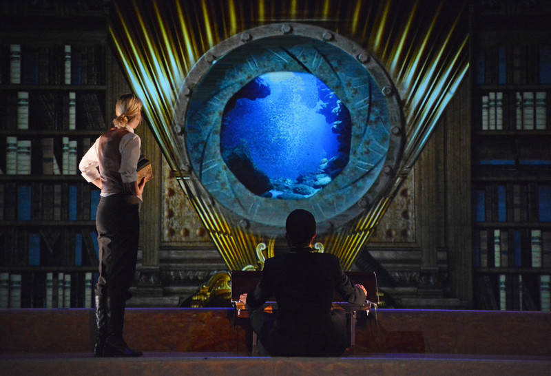 Suzy Jane Hunt and Serafín Falcón in TWENTY THOUSAND LEAGUES UNDER THE SEA at Asolo Rep. Photo by Gary W.  Sweetman.