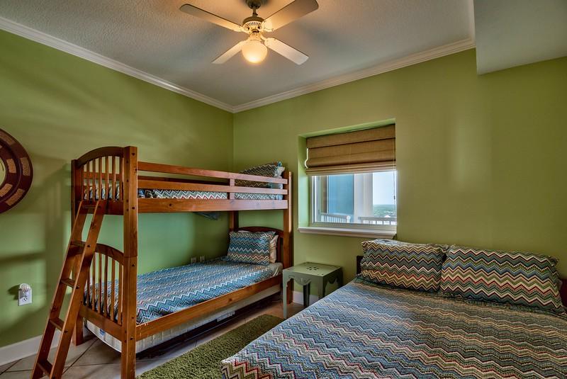Bedroom 2 has Queen plus twin bunks