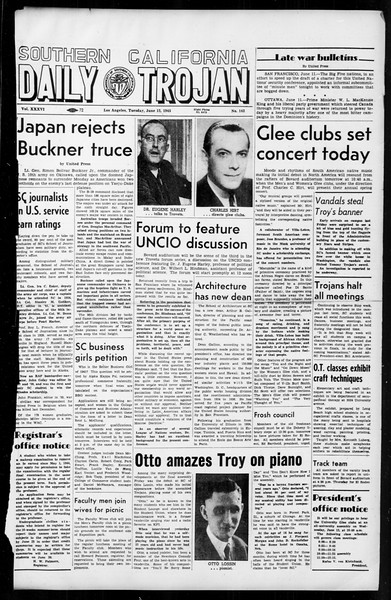 Daily Trojan, Vol. 36, No. 142, June 12, 1945