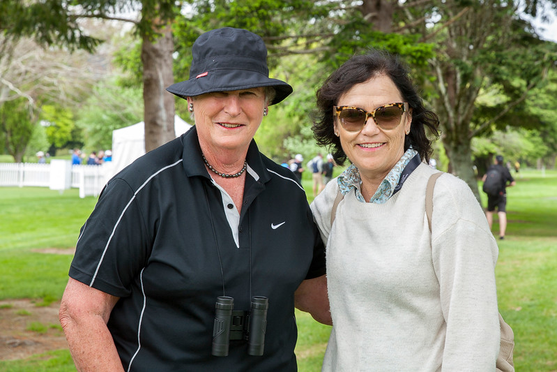 Two ladies enjoying the golf on the final day of the Asia-Pacific Amateur Championship tournament 2017 held at Royal Wellington Golf Club, in Heretaunga, Upper Hutt, New Zealand from 26 - 29 October 2017. Copyright John Mathews 2017.   www.megasportmedia.co.nz