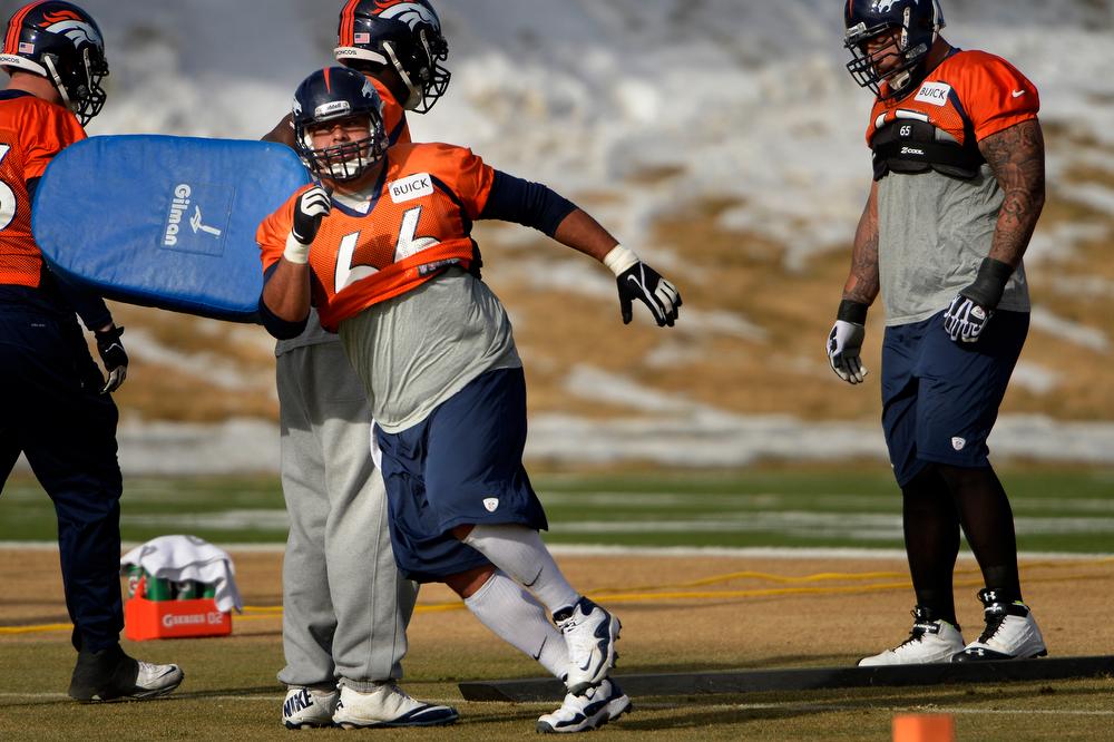 . Center Manny Ramirez #66 of the Denver Broncos running drills during practice at Dove Valley in Centennial January 10, 2014 Centennial, Colorado. (Photo by Joe Amon/The Denver Post)