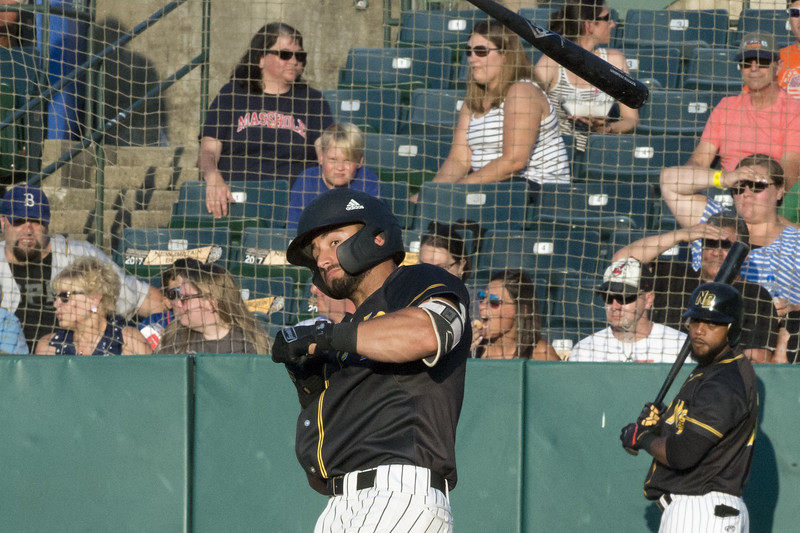 07/05/19  Wesley Bunnell | Staff  The New Britain Bees vs the Sugar Land Skeeters at New Britain Stadium on Friday July 5, 2019. Vinny Siena (6) has the bat fly out of his hands on a check swing.