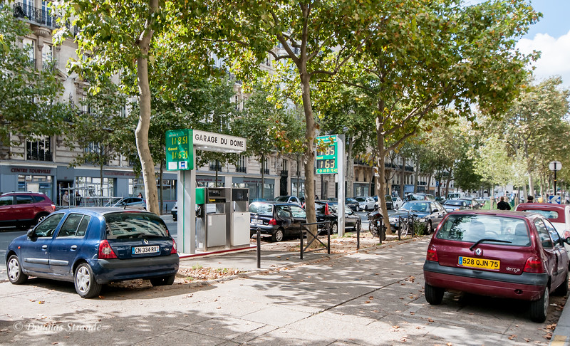Typical Paris gas station.  1.63 euro/liter translates to $8.30/gallon.